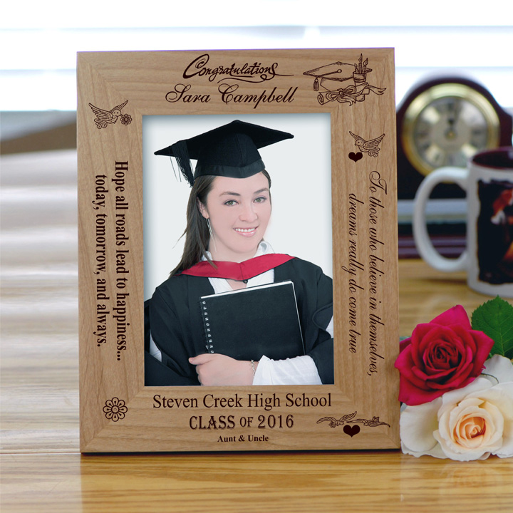 Personalized \'Happiness\' Graduation Photo Frame - Wood Frame ...
