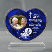 Personalized Blue 'Sacred Union' Heart Keepsake