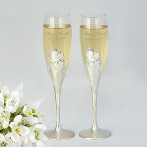 Personalized Heart Crystal Wedding Flutes