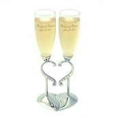 Personalized Heart Wedding Flutes