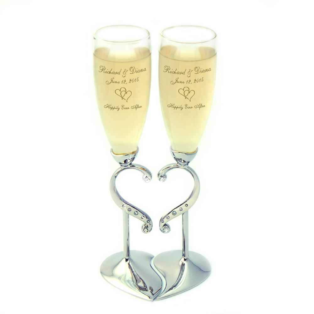 personalized heart wedding flutes engraved wedding accessories