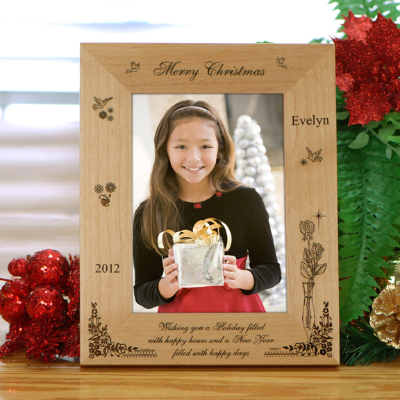 Personalized \'Merry Christmas\' Wood Frame - Holiday Photo Frames