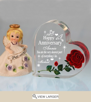 Personalized 'My Dearest' Anniversary Heart w/ Rose