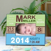 Personalized Record Photo Frame for Baby Boy
