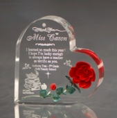 Personalized Red Rose Heart Keepsake