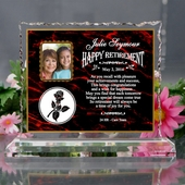 Personalized Retirement Cracking Ice Keepsake w/Rose
