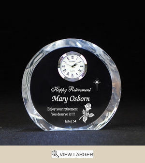 Personalized Retirement Crystal Round Clock