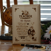 Personalized Rose Design Wood Teacher Plaque