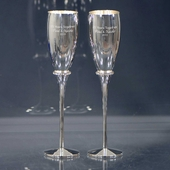 Personalized Silver Anniversary Flutes