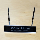 Personalized Silver Metal Brass Name Plate with Pens