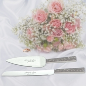 Personalized Silver Serving Set w. Glitter Handles