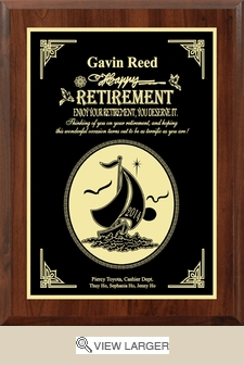 Personalized 'Thinking of You' Retirement Plaque