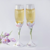 Personalized Tulip Wedding Flutes