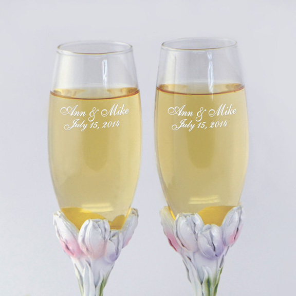 Personalized Tulip Wedding Set - Engraved Wedding Accessories