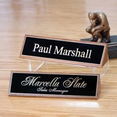 Personalized Walnut Wood Wedge Name Plate