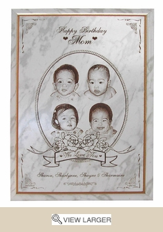 Personalized White Marble Photo Plaque