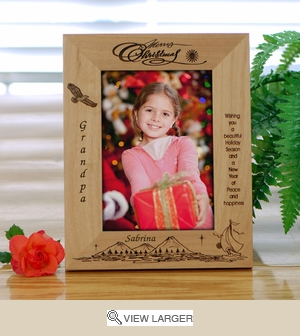 Personalized Wood Peace and Happiness Christmas Frame
