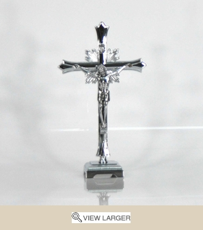 Table Top Silver Fleurie Crucifix
