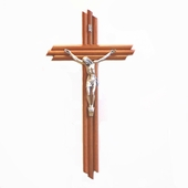 Three Beam Wood Hanging Crucifix