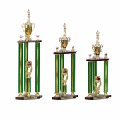 Three Column Green Trophies