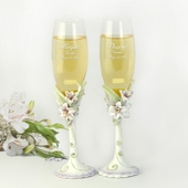 Tiger Lily Personalized Wedding Flute Set