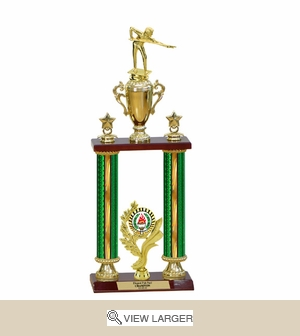 Two Columns Green Trophy