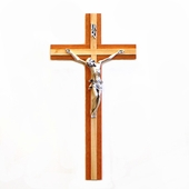 Two Tone Wood Hanging Crucifix