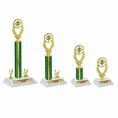 White Base Green Trophies Set