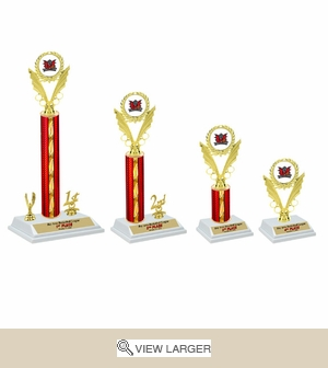 White Base Red Trophies Set
