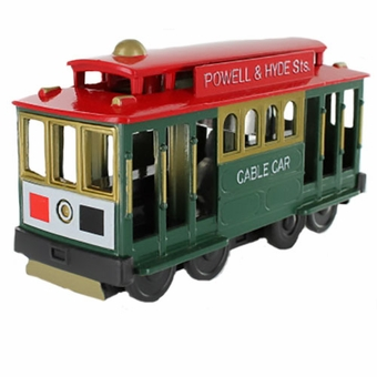 San Francisco Cable Car Metal Toy Friction Green Car with Red Top