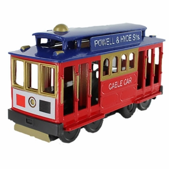 San Francisco Cable Car Metal Toy Friction Red Car with Blue Top