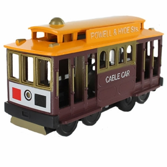 San Francisco Cable Car Metal Friction Toy Brown Car with Yellow Top