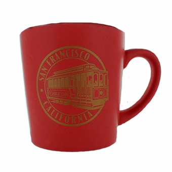San Francisco Souvenir Cable Car Stamp Mug Red Color
