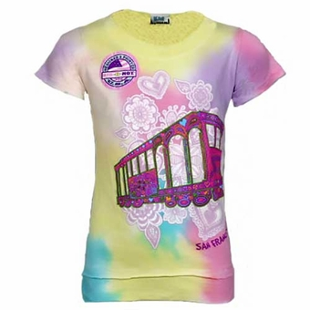 San Francisco Cable Car Doodle Tie Dye Kids Tee Pastel