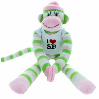 I Love San Francisco Rainbow Sock Monkey Stuffed Animal Toy Green Stripe