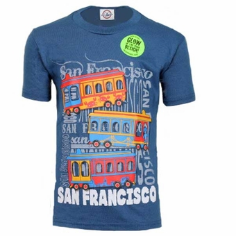 San Francisco Souvenir 3 Cable Car Design Kids T-shirt Glow In The Dark Unisex Marine Blue
