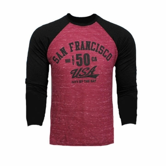 San Francisco Souvenir Long Sleeve T Shirt Marble USA Adult Unisex Burgundy Red With Black Sleeves