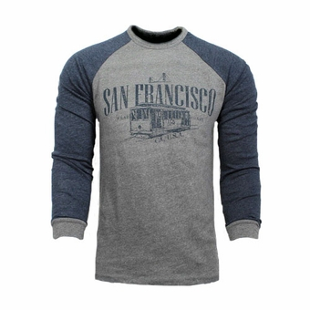 San Francisco Cable Car Souvenir Long Sleeve T Shirt West Coast CA Gray With Navy Blue Sleeves Unisex Adult
