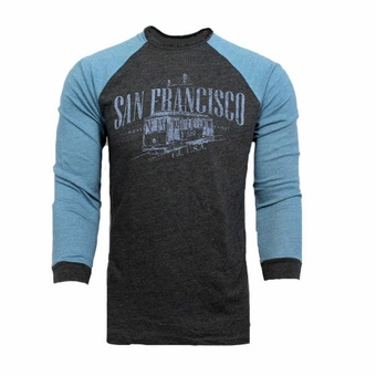 San Francisco Cable Car Souvenir Long Sleeve T Shirt West Coast CA Dark Gray With Light Blue Sleeves Unisex Adult