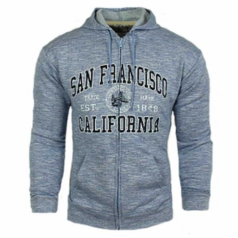 San Francisco American Classic Zip Up Hoodie Sweatshirt Blue Adult Unisex