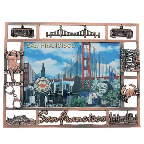 """San Francisco """"Charms"""" Picture Frame: Pewter"""