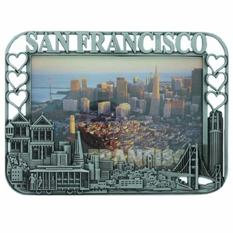 San Francisco City Hearts Pewter Picture Frame