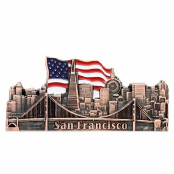 San Francisco City With U.S. Flag