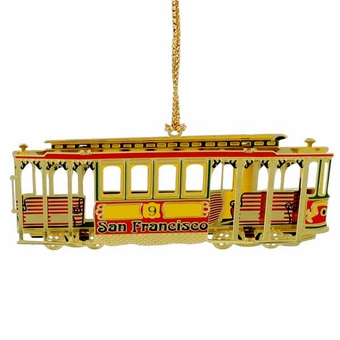 San Francisco Colorful Brass Cable Car Ornament.