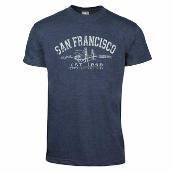 San Francisco Cotton T Shirt Established 1848 Design, Adult, Heather Navy Color