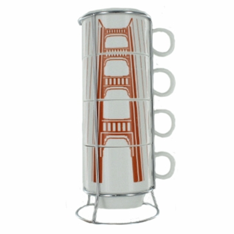 San Francisco Golden Gate Tower Coffee Four-Cup with Holder