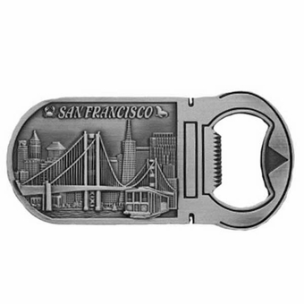San Francisco Souvenir Golden Gate Bridge Skyline Bottle Opener Magnet Pewter