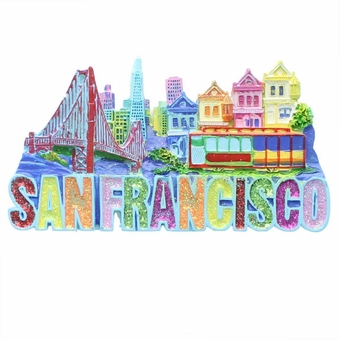 San Francisco Poly Glitter Magnet.
