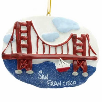 San Francisco Sailboat Christmas Ornament