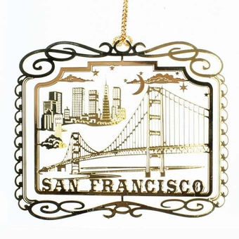 San Francisco Skyline Brass Ornament